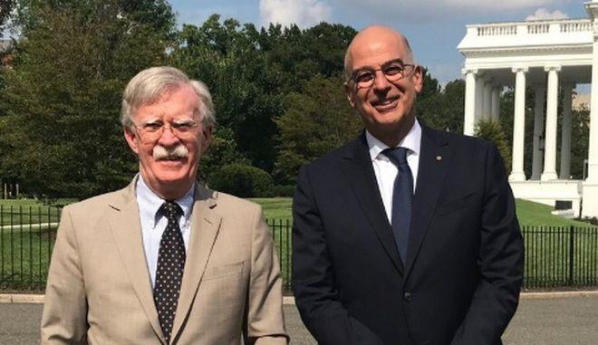 """Συνάντηση Δένδια - Μπόλτον: """"Ενίσχυση της στρατηγικής σχέσης Ελλάδας - ΗΠΑ"""""""