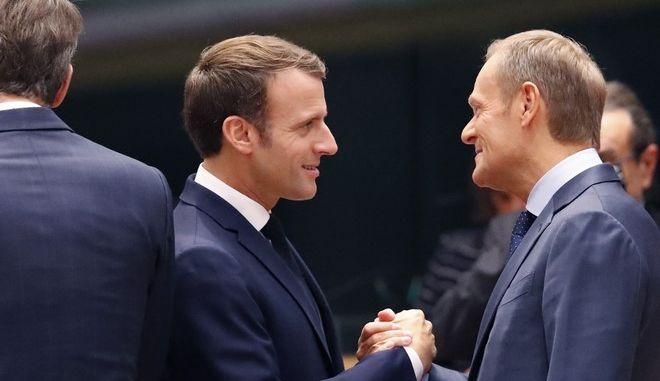 Donald Tusk, και Emmanuel Macron