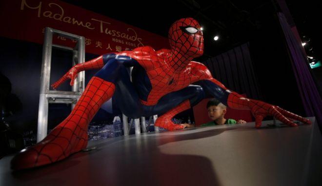 Άγαλμα του Spider Man στο μουσείο της Μαντάμ Τυσώ στο Χονγκ Κονγκ
