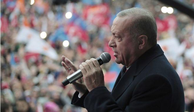 Ο Τούρκος πρόεδρος Ρετζέπ Ταγίπ Ερντογάν σε προεκλογική συγκέντρωση στην πόλη Αντιγιαμάν