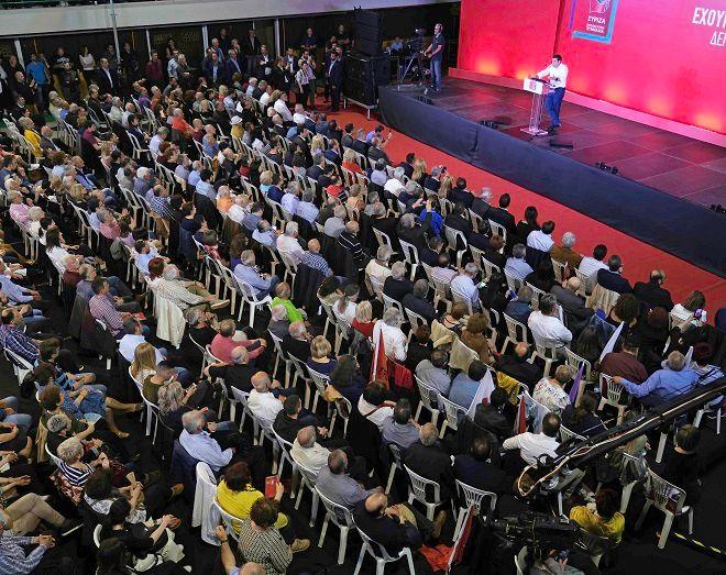 Στιγμιότυπο από ομιλία Τσίπρα στην Κοζάνη