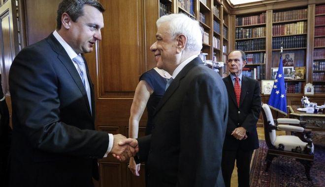 Συνάντηση του Προέδρου της Δημοκρατίας Προκόπη Παυλόπουλου με τον πρόεδρο του Κοινοβυλίου της Σλοβακίας, Andrej Danko