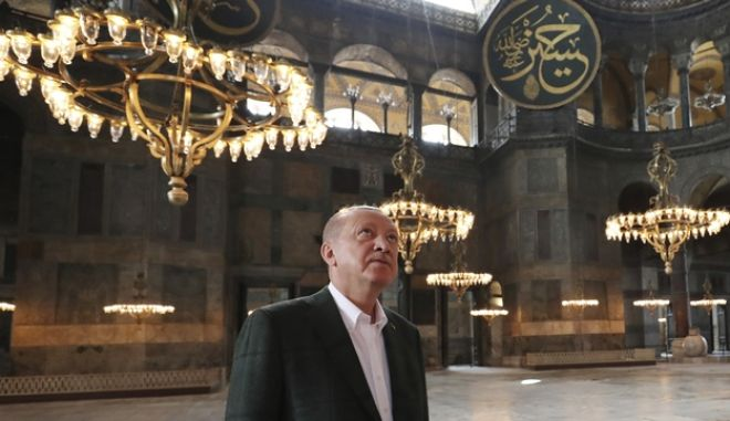 Ο Τούρκος πρόεδρος Ταγίπ Ερντογάν μέσα στην Αγιά Σοφιά