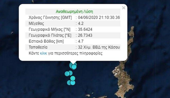 Σεισμός 4,3 Ρίχτερ βορειοδυτικά της Κάσου