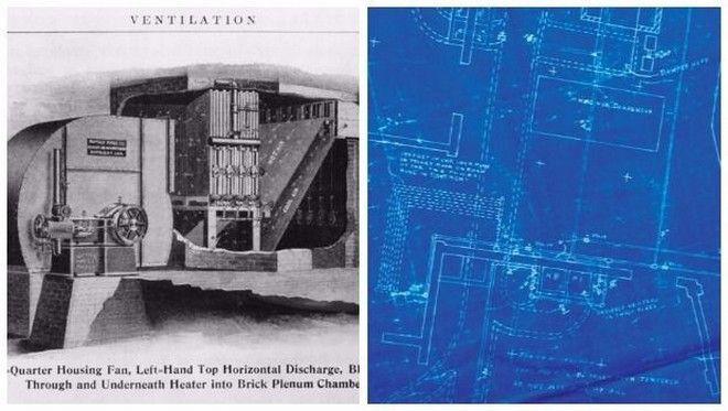 Αριστερά είναι η μηχανή που έφτιαξε ο Κάριερ για την Sackett-Wilhelms Lithographing and Publishing και δεξιά το blueprint που δημιούργησε νέο κλάδο.