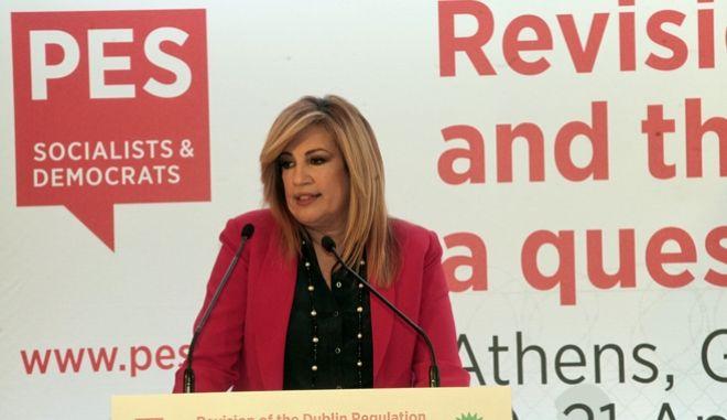 Tο ΠΑΣΟΚ και το Δίκτυο Μετανάστευσης και Ένταξης του Ευρωπαϊκού Σοσιαλιστικού Κόμματος (PES) διοργανωσαν  ανοικτή εκδήλωση  με θέμα: «Ζήτημα Αλληλεγγύης: Αναθεώρηση του Κανονισμού Δουβλίνο και Σύστημα Μετεγκατάστασης». Στην εκδήλωση  συμμετειχαν τα Μέλη του Δικτύου Μετανάστευσης και Ένταξης του Ευρωπαϊκού Σοσιαλιστικού Κόμματος  Την εκδήλωση  χαιρετησε η   Πρόεδρος του ΠΑΣΟΚ, Φώφη Γεννηματά--ΦΩΤΟ ΧΡΗΣΤΟΣ ΜΠΟΝΗΣ//EUROKINISSI