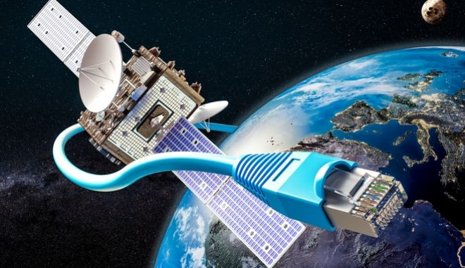 3D σχέδιο του project εκτόξευσης 60 μικρών δορυφόρων Starlink για παροχή ευρυζωνικού διαδικτύου.