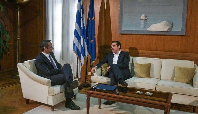 Συνάντηση του Κυριάκου Μητσοτάκη με τον Αλέξη Τσίπρα τον Ιανουάριο του 2020
