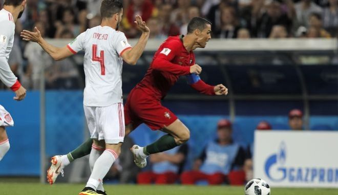 Στιγμιότυπο από τον αγώνα Πορτογαλία - Ισπανία