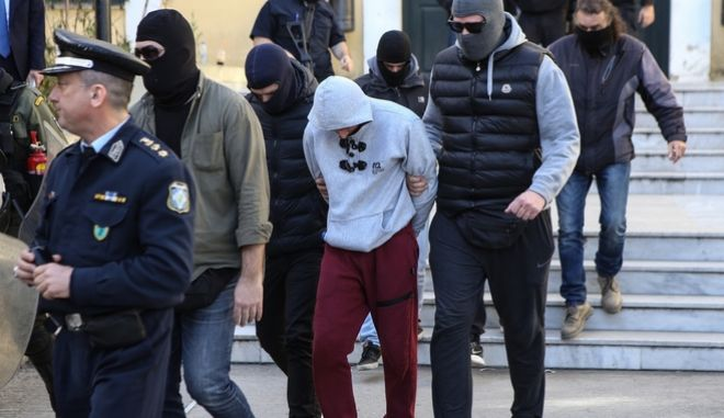 Arrested members of the far right organisation  '' Combat 18 Hellas '' at the prosecutor ' s, in Athens, March 7, 2018 /      '' Combat 18 Hellas ''  ,  , 7 , 2018