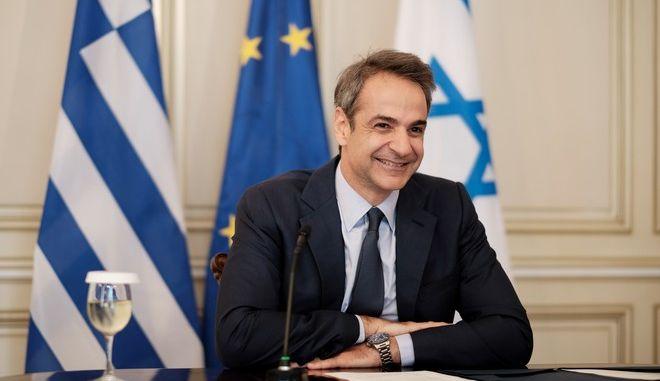 Στιγμιότυπο από τηλεδιάσκεψη του Πρωθυπουργού Κυριάκου Μητσοτάκη
