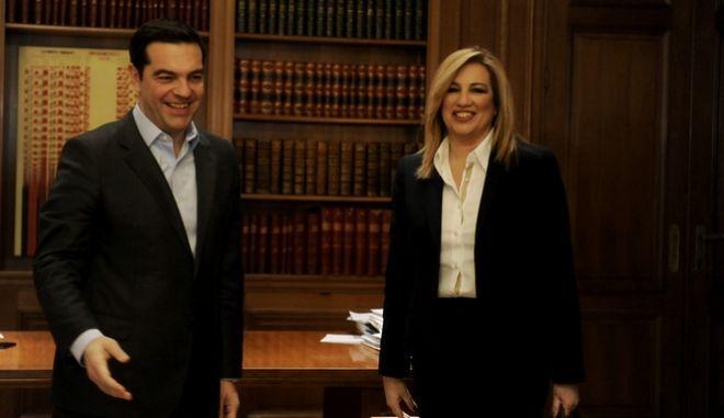 Συνάντηση του Πρωθυπουργού Αλέξη Τσίπρα με τη Φώφη Γεννηματα