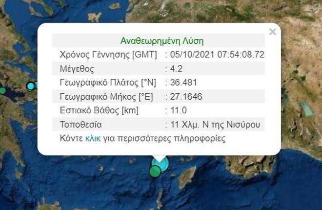 Σεισμός 4,2 Ρίχτερ ταρακούνησε τη Νίσυρο