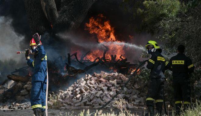 Πυροσβεστικές δυνάμεις επιχειρούν σε κατάσβεση φωτιάς - Φωτό αρχείου