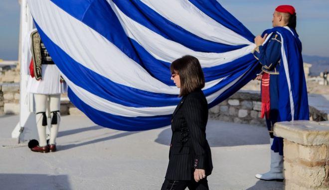 Η Πρόεδρος της Δημοκρατίας στην έπαρση της σημαίας