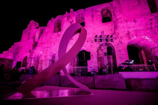 Συμβολική φωταγώγηση του Ηρωδείου σε ροζ χρώμα την Τετάρτη 23 Οκτωβρίου 2019