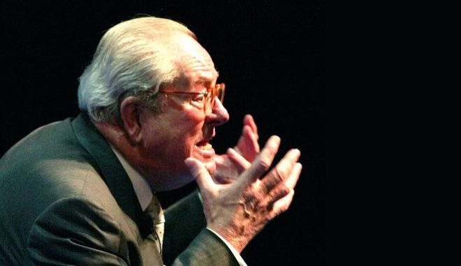 French far-right presidential candidate Jean-Marie Le Pen gestures during a meeting in Marseille, southern France, Thursday, May 2, 2002. Le Pen will face President and conservative candidate Jacques Chirac in the May 5 presidential election runoff. (AP Photo/Lionel Cironneau)