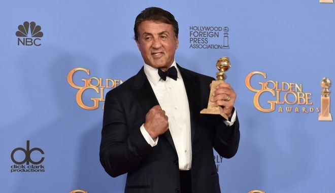 """FILE - In this Jan. 10, 2016, file photo, Sylvester Stallone poses in the press room with the award for best performance by an actor in a supporting role in a motion picture for """"Creed"""" at the 73rd annual Golden Globe Awards at the Beverly Hilton Hotel in Beverly Hills, Calif. On Instagram, Wednesday, July 13, 2016, Stallone praised a video of a toddler mimicking his movements while watching a clip of the training montage in """"Rocky II."""" (Photo by Jordan Strauss/Invision/AP, File)"""