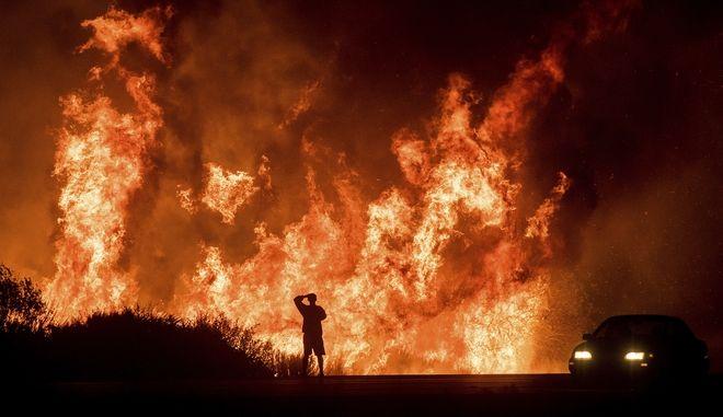 Las llamas del incendio forestal al norte de Ventura, California, el 6 de diciembre del 2017. (AP Photo/Noah Berger)