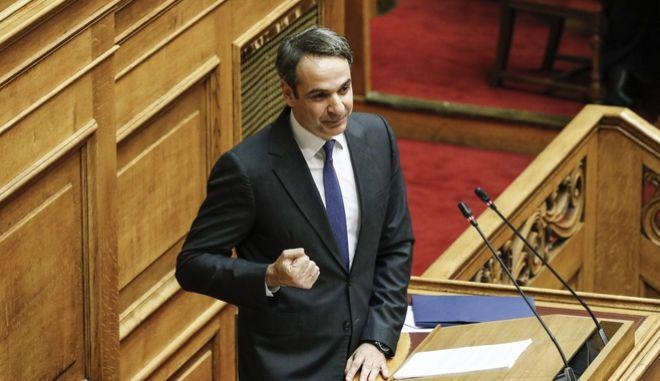 Ο Κ. Μητσοτάκης στο βήμα της Ολομέλειας