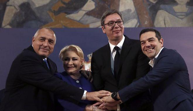 Ο Αλέξης Τσίπρας μαζί με τον πρόεδρο της Σερβίας Aleksandar Vucic την πρωθυπουργό της Ρουμανίας Viorica Dancila και τον Βούλγαρο πρωθυπουργό Boyko Borisov