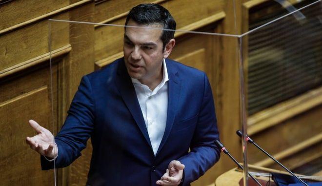 O πρόεδρος του ΣΥΡΙΖΑ-ΠΣ, Αλέξης Τσίπρας στο βήμα της Βουλής