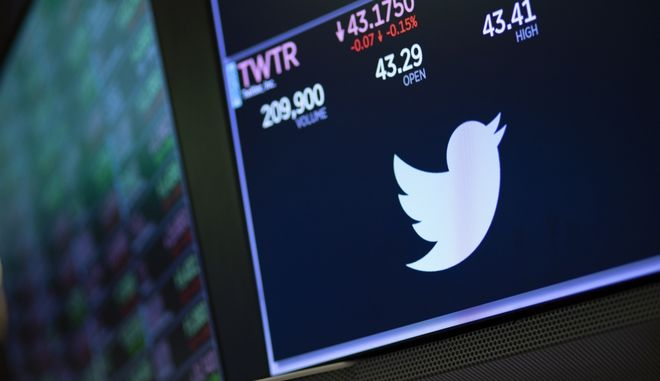 Το σήμα του Twitter στον πίνακα του Χρηματιστηρίου της Νέας Υόρκης.