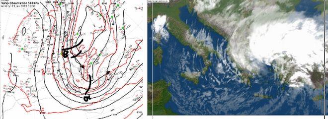 Ανάλυση χάρτης 500 hPa που δείχνει τις δύο κύριες διαταραχές. Η (α) απομακρύνεται ανατολικότερα και η (β) κινείται νοτιοανατολικά και θα μας επηρεάσει από το απόγευμα της Παρασκευής.  Στον χάρτη δεξιά η δορυφορική φωτογραφία MSG τις απογευματινές ώρες της Πέμπτης.