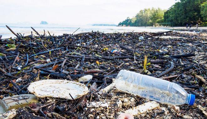 Σκουπίδια σε παραλία