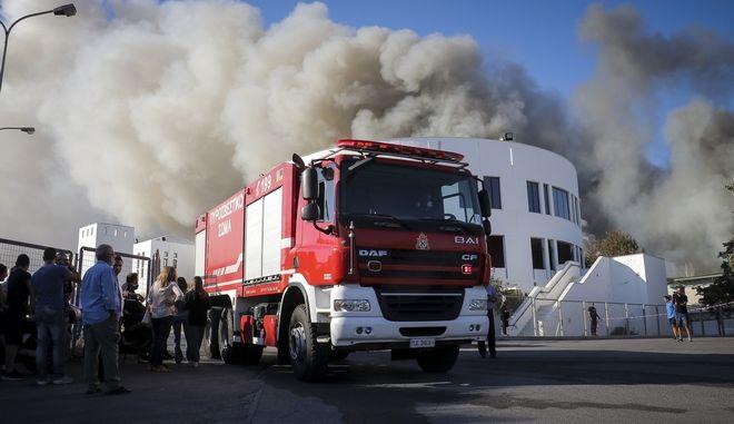Πυρκαγιά στα κτίρια του Πανεπιστημίου Κρήτης στην περιοχή της Λεωφ. Κνωσού, στο Ηράκλειο