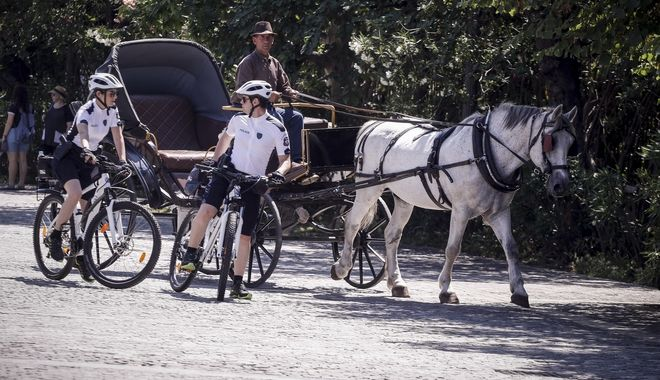 Αστυνομικοί με ποδήλατα στην περιοχή της Ακρόπολης.