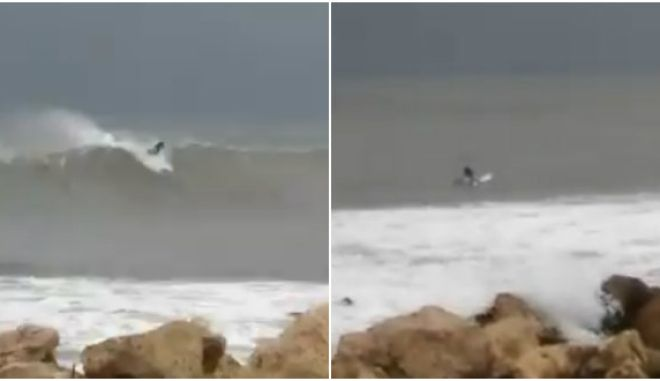 Κυκλώνας Ζορμπάς: Αδιανόητο - Σέρφερ καβαλάει τα κύματα στον Μάραθο Μεσσηνίας