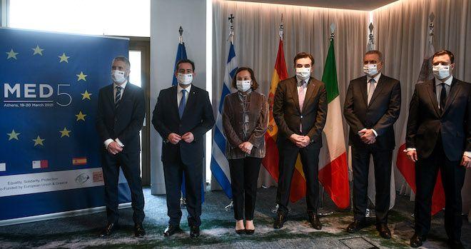 Διυπουργική διάσκεψη MED5 στην Αθήνα για το προσφυγικό με την συμμετοχή των Υπουργών Εσωτερικών της Ελλάδας-Ιταλίας-Ισπανίας και Μάλτας, 20 Μαρτίου 2021