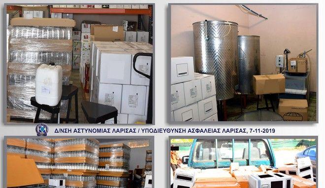 """Εικόνες από τις αποθήκες με τα ποτά """"μπόμπες"""" στη Θεσσαλία"""