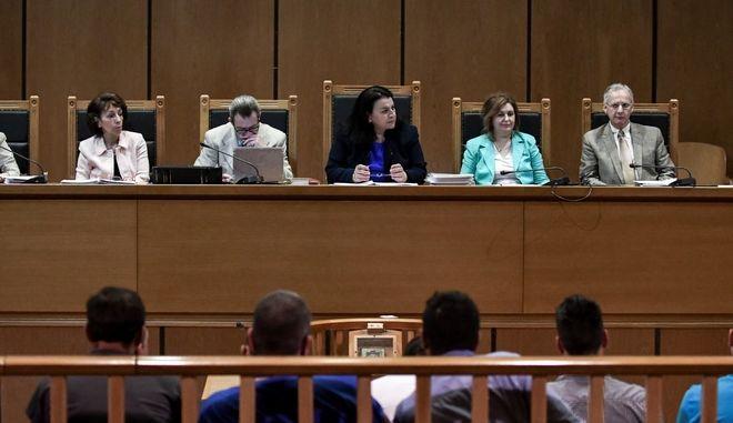 Απολογίες των κατηγορουμένων στην δίκη της Χρυσής Αυγής με πρώτη υπόθεση αυτήν της δολοφονίας του Παύλου Φύσσα, 34 ετών, μουσικού, εργάτη στη Ζώνη Περάματος, τη νύχτα της 17ης Σεπτεμβρίου 2013, στην αίθουσα του Εφετείου Αθηνών την Πέμπτη 20 Ιουνίου 2019.  (EUROKINISSI/ΤΑΤΙΑΝΑ ΜΠΟΛΑΡΗ)