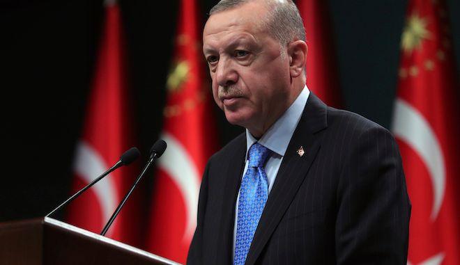 Ο Πρόεδρος της Τουρκίας Ρετζέπ Ταγίπ Ερντογάν σε συνέντευξη Τύπου, στην Άγκυρα, 11 Ιανουαρίου 2021.