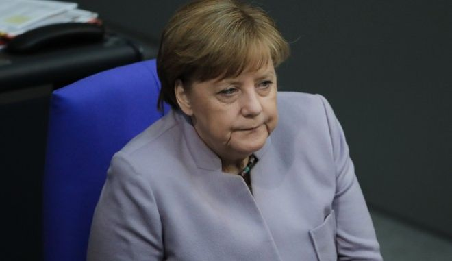 German Chancellor Angela Merkel attends a debate about the European Union at the German parliament Bundestag in Berlin, Thursday, April 27, 2017. (AP Photo/Markus Schreiber)