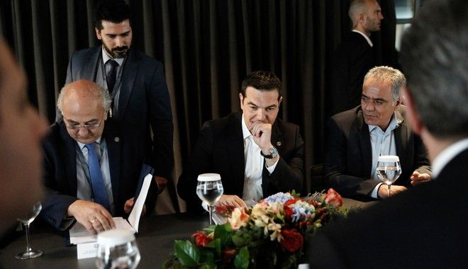 Greek Prime Minister Alexis Tsipras meets the Prime Minister of Georgia Giorgi Kvirikashvili. Trans Adriatic Pipeline Construction Inauguration Ceremony. Thessaloniki, Greece on May 17, 2016.