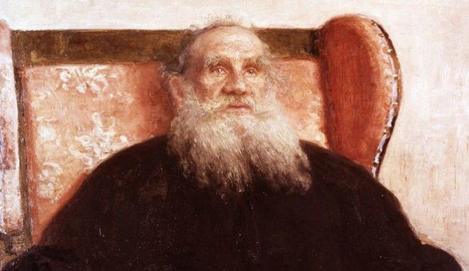 Ο Λέων Τολστόι σε πίνακα του 1909