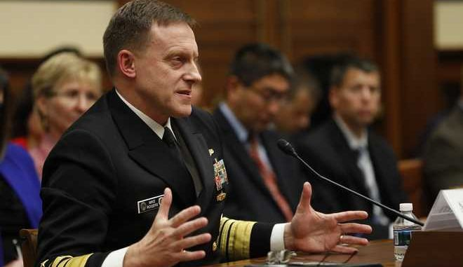 National Security Agency Director Adm. Michael S. Rogers testifies on Capitol Hill in Washington, Tuesday, May 23, 2017, before the House Armed Services Emerging Threats and Capabilities subcommittee hearing: Fiscal Year 2018 Budget Request for U.S. Cyber Command: Cyber Mission Force Support to Department of Defense Operations. (AP Photo/Pablo Martinez Monsivais)