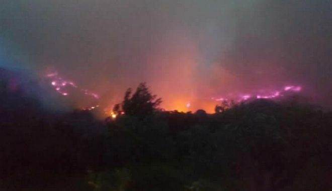 Προς ολονύχτια μάχη με τις φλόγες και τους ανέμους στην Φρίξα Ηλείας