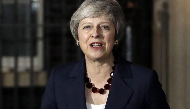 H πρωθυπουργός της Βρετανίας, Τερέζα Μέι, κατά το διάγγελμά της μετά την αποδοχή από το υπουργικό συμβούλιο της συμφωνίας για το Brexit