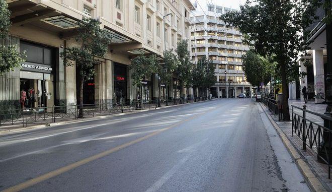 Άδειοι δρόμοι στην Αθήνα