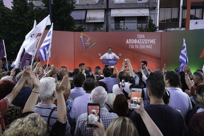 Εικόνα από την προεκλογική συγκέντρωση του Αλέξη Τσίπρα στη Φλώρινα