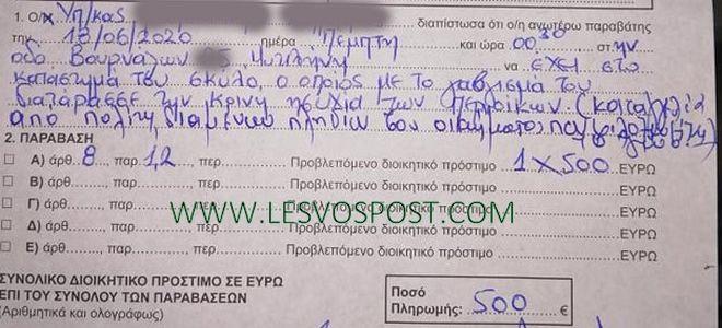 Μυτιλήνη: Πρόστιμο 500 ευρώ επειδή γάβγιζε ο σκύλος του