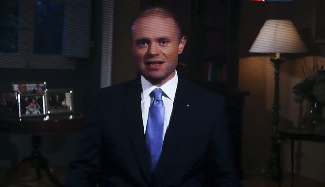 Καρέ από το τηλεοπτικό διάγγελμα του Τζόζεφ Μουσκάτ όπου ανακοίνωσε πως θα παραιτηθεί