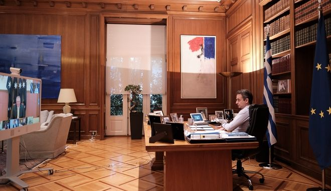 Ο πρωθυπουργός Κυριάκος Μητσοτάκης συμμετέχει σε τηλεδιάσκεψη με άλλους έξι ηγέτες κρατών απ΄ όλο τον κόσμο.