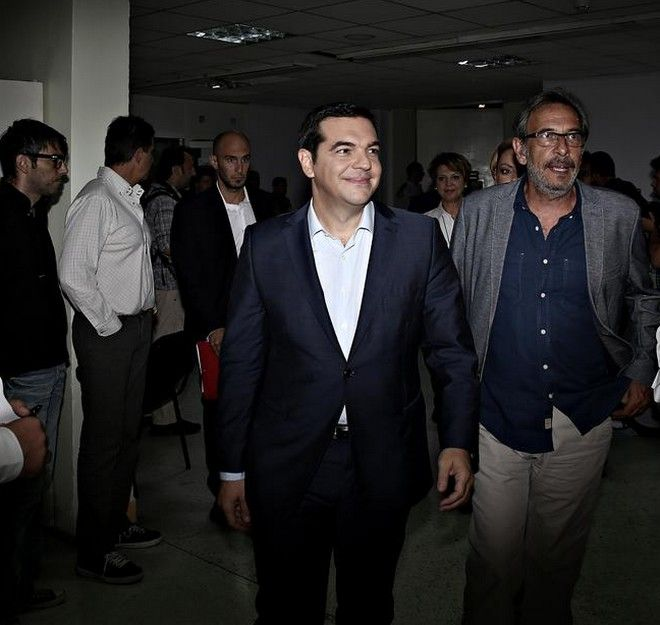 Snapshots after a televised election debate, broadcast live in Greece from state-run TV studios, in Athens on Wednesday, Sept. 10, 2015. /          .