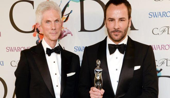 Ο Richard Buckley και ο Tom Ford, στα βραβεία μόδας CFDA, το 2014.