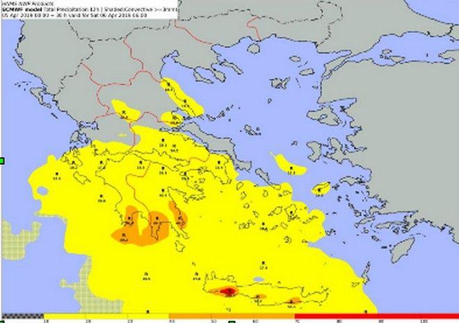 Δείκτης προειδοποιήσεων με βάση τα όρια του Ευρωπαϊκού Κέντρου Μεσοπρόθεσμων Προγνώσεων (ECMWF) για το χρονικό διάστημα από Παρασκευή 18:00 εως Σάββατο 06:00UTC( αφορά όλο το 12ωρο)